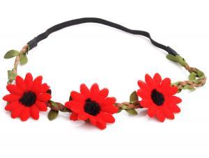 Hårband - Stora röda blommor till Midsommar