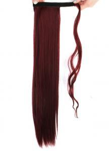 #BUG Vinröd - Wrap-on hästsvans rakt syntetiskt löshår