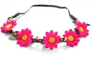 Hårband - Stora blommor mörkrosa till Midsommar
