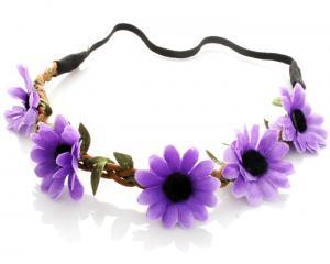 Hårband - Stora blommor lila