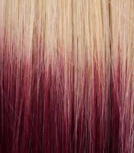 #22TBug Blond & Vinröd - Classic Dip Dye äkta löshår remy clip-on