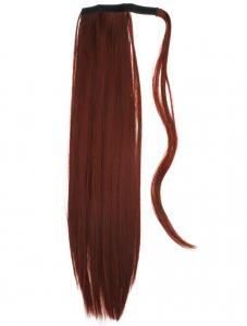 #350 Rödbrun - Wrap-on hästsvans rakt syntetiskt löshår