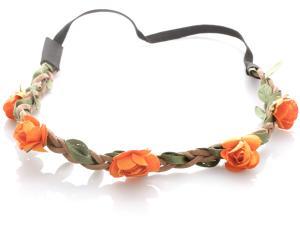 Hårband - Brunt med gröna blad & orange blommor