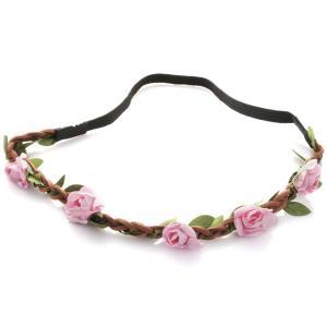 Hårband - Brunt med gröna blad & ljusrosa blommor till Midsommar