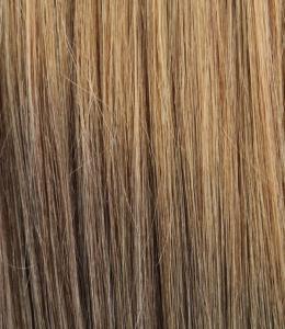 #18T8 Ljusbrun & Askbrun - Classic Dip Dye äkta löshår remy clip-on