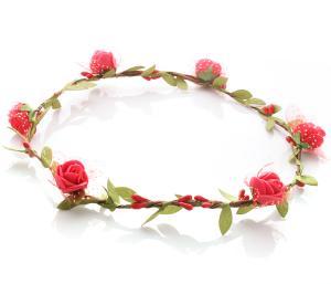 Hårkrans - Gröna blad & rosor röd till Midsommar