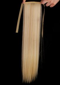 #F22/613 Ljusblond/Blond - Hästsvans rak rosett syntetiskt löshår
