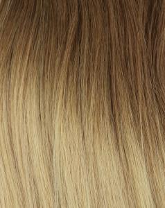 #8T24 Askbrun & Blond - Classic Dip Dye äkta löshår remy clip-on