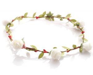 Hårkrans - Gröna blad & rosor vit till Midsommar