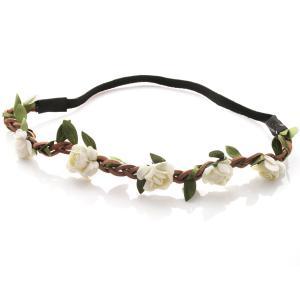 Hårband - Brunt med gröna blad & vita blommor till Midsommar