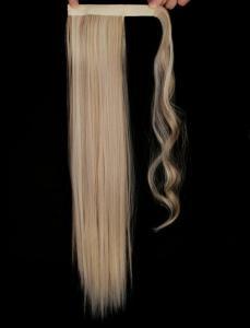 #F24/613 Blond - Wrap-on hästsvans rakt syntetiskt löshår