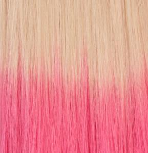 Classic Single Drawn äkta löshår clip-on Dip Dye - Blond & Rosa #60TLightPink