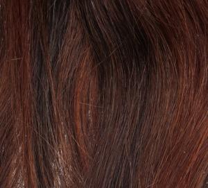 #4/30 Mörkbrun/Röd - Original äkta löshår remy clip-on