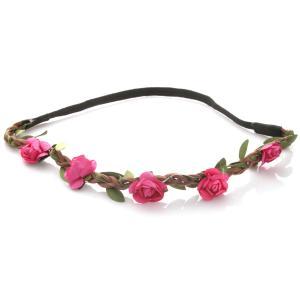 Hårband - Brunt med gröna blad & mörkrosa blommor till Midsommar