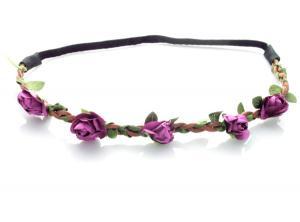 Hårband - Brunt med gröna blad & mörklila blommor till Midsommar