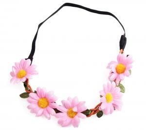 Hårband - Stora blommor rosa & gul