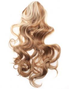 #27H613 Blond & Brun - Hästsvans lockig med klämma syntetiskt löshår