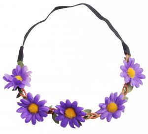 Hårband - Stora blommor lila & gul