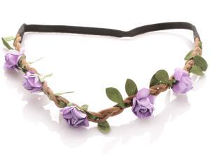 Hårband - Brunt med gröna blad & lila blommor till Midsommar