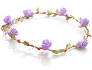 Hårkrans - Gröna blad & rosor lila till Midsommar