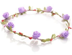 Hårkrans - Gröna blad & rosor lila