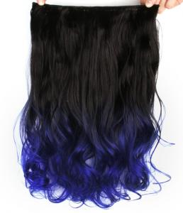 Löshår lockig 5 Clip on dip dye - Svart & Mörkblå #BlackTBlue