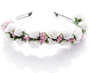 Diadem - Rosor & bär vit & ljusrosa