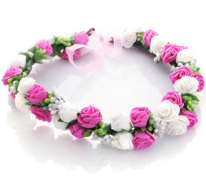 Hårkrans rosor - Vit & mörkrosa
