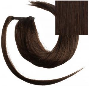 #4 Mörkbrun - Classic äkta löshår remy hästsvans wrap-on