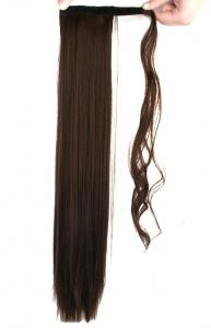 #8A Mellanbrun/Mörkbrun - Wrap-on hästsvans rakt syntetiskt löshår