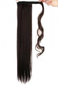 #4A Mörkbrun - Wrap-on hästsvans rakt syntetiskt löshår