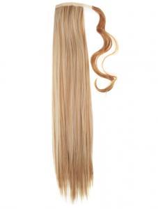 #27H613 Brun & Blond - Wrap-on hästsvans rakt syntetiskt löshår