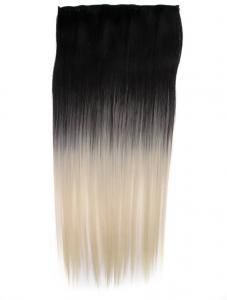 Löshår rakt 5 Clip on dip dye - Svart & Blond