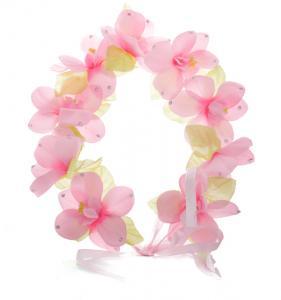 Hårkrans - Blommor ljusrosa till Midsommar