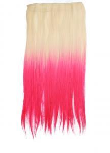 Löshår rakt 5 Clip on dip dye - Blond & Rosa