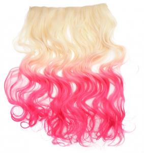 Löshår lockigt 5 Clip on dip dye - Blond & Rosa