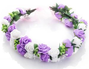 Hårkrans rosor - Vit & lila till Midsommar