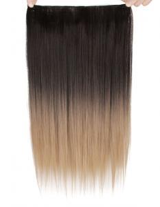 Löshår rakt 5 Clip on dip dye - Svart & Mörkblond/Ljusbrun #2T16