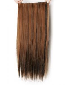 Löshår rakt 5 Clip on - Slingat mellanbrun & mörkbrun #4H27