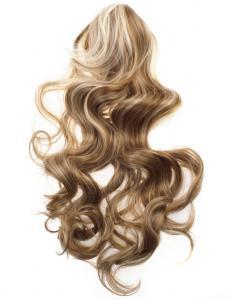#27H613 Blond & Ljusbrun - Hästsvans lockig med klämma syntetiskt löshår