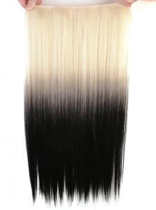 Löshår rakt 5 Clip on dip dye - Blond & Svart