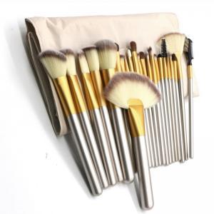 24 st Makeupborstar av hårfiber + förvaringsväska i PU-läder