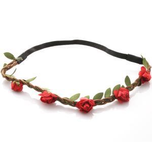 Hårband - Brunt med gröna blad & röda blommor till Midsommar