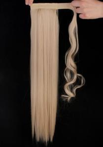 #22/613 Mellanblond - Wrap-on hästsvans rakt syntetiskt löshår