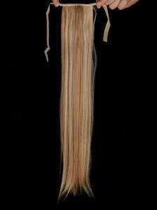#27H613 Blond & Brun - Hästsvans rak rosett syntetiskt löshår