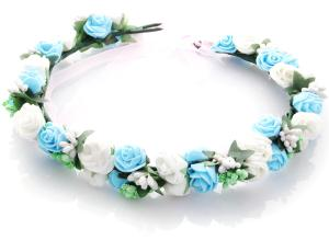 Hårkrans rosor - Vit & ljusblå