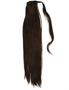 #6 Mörkbrun - Wrap-on hästsvans rakt syntetiskt löshår