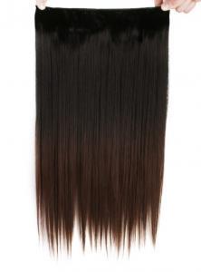 Löshår rakt 5 Clip on dip dye - Svart & Mörkbrun #BlackT8