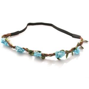 Hårband - Brunt med gröna blad & blå blommor till Midsommar