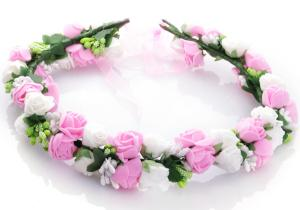 Hårkrans rosor - Vit & ljusrosa till Midsommar